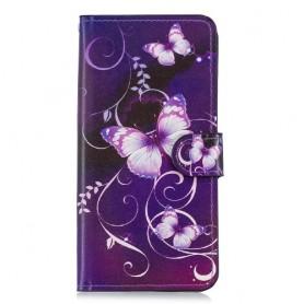 OnePlus 6T violetti kukkia ja perhosia suojakotelo