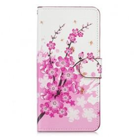 OnePlus 6T vaaleanpunaiset kukat suojakotelo