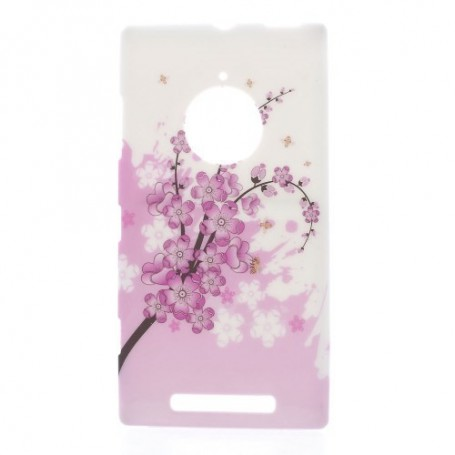Lumia 830 vaaleanpunaiset kukat silikonisuojus.