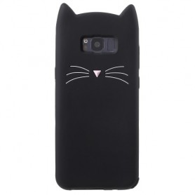 Samsung Galaxy S8 musta kissa silikonikuori.