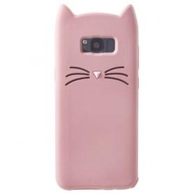 Samsung Galaxy S8 vaaleanpunainen kissa silikonikuori.