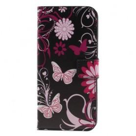 Nokia 5.1 Plus kukkia ja perhosia suojakotelo