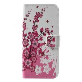Huawei P Smart 2019 vaaleanpunaiset kukat suojakotelo