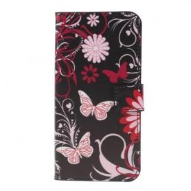 Samsung Galaxy S10 kukkia ja perhosia suojakotelo