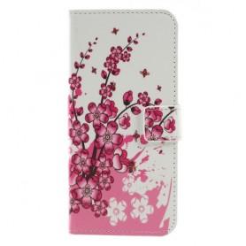Nokia 5.1 Plus vaaleanpunaiset kukat suojakotelo