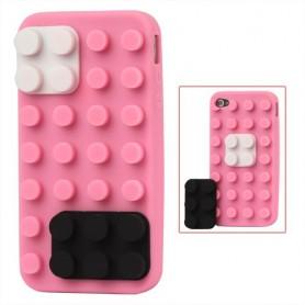 iPhone 4 vaaleanpunainen lego silikonisuojus.