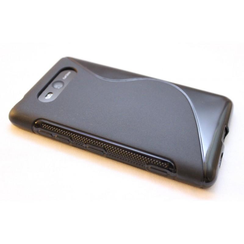 Lumia 820 musta silikoni suojakuori.
