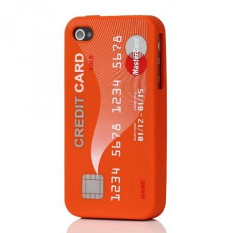 iPhone 4 oranssi luottokortti silikonisuojus.