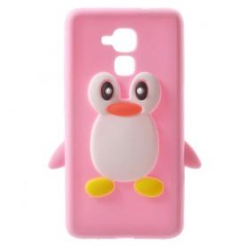 Honor 7 Lite vaaleanpunainen pingviini silikonikuori.