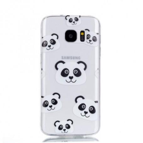 Samsung Galaxy S7 läpinäkyvä pandat suojakuori