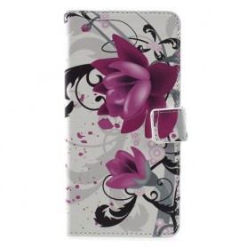 Huawei Y6s / Y6 2019 / Honor 8A violetit kukat suojakotelo
