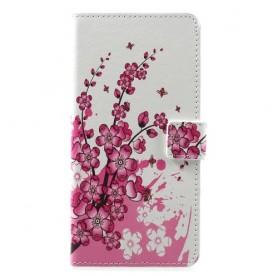 Huawei Honor 8A vaaleanpunaiset kukat suojakotelo