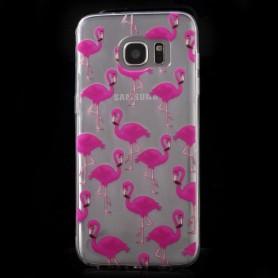 Samsung Galaxy s7 edge läpinäkyvä flamingot suojakuori.