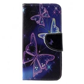 Huawei P30 violetit perhoset suojakotelo