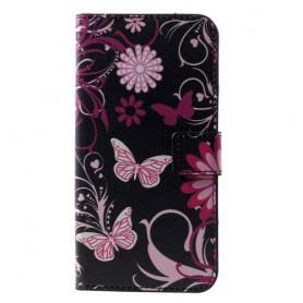 Huawei P30 kukkia ja perhosia suojakotelo