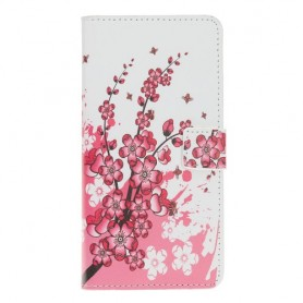 Samsung Galaxy A40 vaaleanpunaiset kukat suojakotelo
