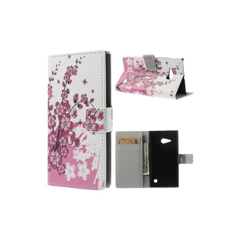 Lumia 735 vaaleanpunaiset kukat puhelinlompakko