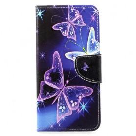 Huawei P30 Lite violetit perhoset suojakotelo