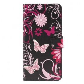 Huawei P30 Lite kukkia ja perhosia suojakotelo