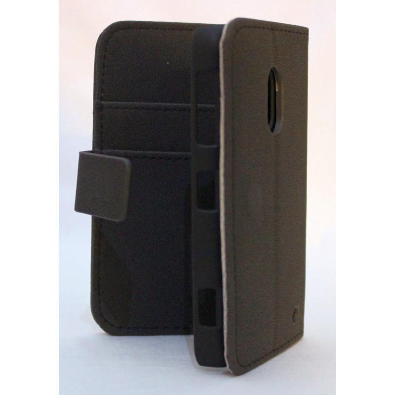 Lumia 620 musta lompakko suojakotelo.