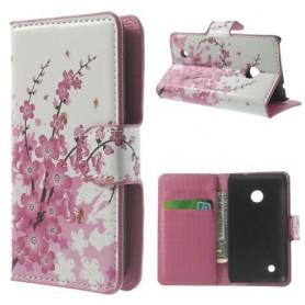 Lumia 530 vaaleanpunaiset kukat puhelinlompakko
