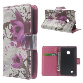 Lumia 530 violetit kukat puhelinlompakko