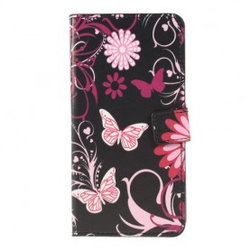 Samsung Galaxy A10 kukkia ja perhosia suojakotelo