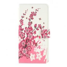 Samsung Galaxy A10 vaaleanpunaiset kukat suojakotelo
