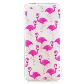 Samsung Galaxy A10 läpinäkyvä flamingot suojakuori