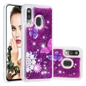 Samsung Galaxy A40 glitter hile perhoset suojakuori