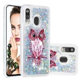 Samsung Galaxy A40 glitter hile pöllö suojakuori
