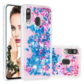 Samsung Galaxy A40 glitter hile kukat ja perhoset suojakuori