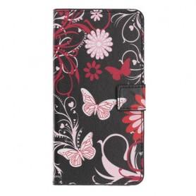Samsung Galaxy A20e kukkia ja perhosia suojakotelo