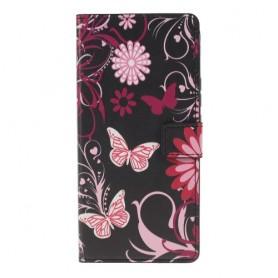 Huawei P Smart Z kukkia ja perhosia suojakotelo