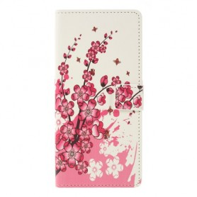 Huawei P Smart Z / Honor 9X vaaleanpunaiset kukat suojakotelo