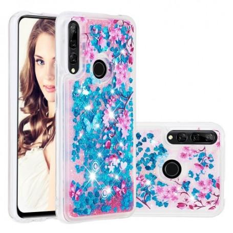 Huawei P Smart Z / Honor 9X glitter hile kukkia ja perhosia suojakuori