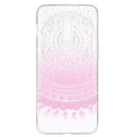 OnePlus 7 läpinäkyvä vaaleanpunainen mandala suojakuori