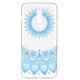 OnePlus 7 läpinäkyvä vaaleansininen mandala suojakuori