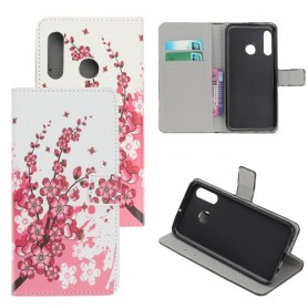 Huawei Honor 20 Lite vaaleanpunaiset kukat suojakotelo