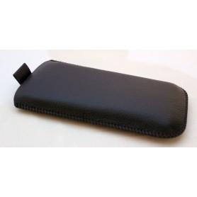 Musta nahkainen vetoliuska suojakotelo.