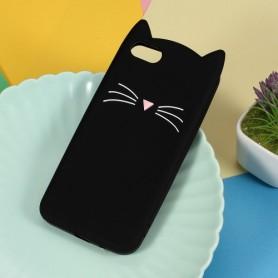 Huawei Y5 2018 musta kissa silikonikuori.