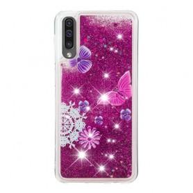 Samsung Galaxy A50 glitter hile perhoset suojakuori