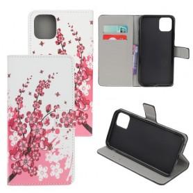 iPhone 11 vaaleanpunaiset kukat suojakotelo