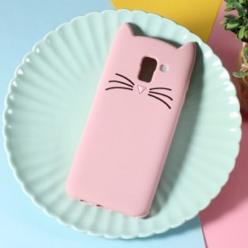 Samsung Galaxy J6 2018 vaaleanpunainen kissa silikonikuori.