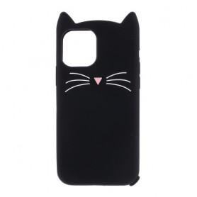 iPhone 11 musta kissa silikonikuori.