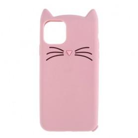iPhone 11 pro vaaleanpunainen kissa silikonikuori.