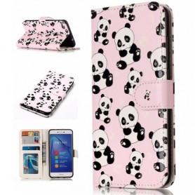 Huawei P10 Lite vaaleanpunaiset pandat suojakotelo