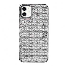 iPhone 11 hopeanvärinen tekojalokivi suojakuori