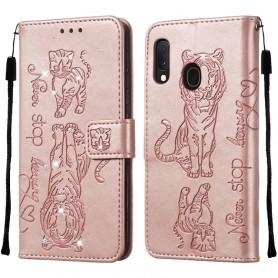 Samsung Galaxy A20e ruusukulta tiikeri suojakotelo