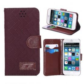 iPhone 6 ruskea ruudukkokuosi puhelinlompakko